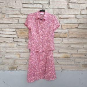 Villager Liz Claiborne 2 Piece Blouse Skirt Set